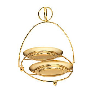 This Display Stand presents two 3-Wick Jar Candles together for a simple elegant style. Goldtone metal. Also available in silvertone. Some simple assembly. For use with jar candles and pillars, sold separately.