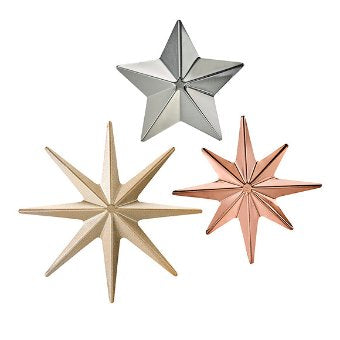 Personalize your décor by adding those finishing touches. These metal magnets make candle decoration extra chic, in three shades of metal finish and three contrasting star shape designs. Perfect to add to any metal décor piece. Metal