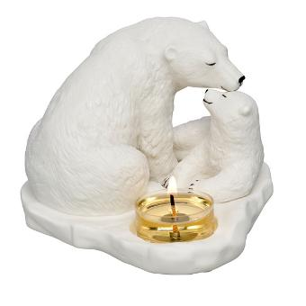 Nature's Wonders Polar Love Tealight Holder. This bisque porcelain Mama bear with her cub is the cutest addition to any festive table. It includes romance card making it the ideal gift. 10 cm h