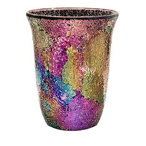 "This shimmering glass mosaic hurricane reflects in dark moody greeny blues, pinky purples and golds. It includes a silvertone, metal 3-tealight tree and glass leveling beads. Look for various matching décor pieces in collection. Illuminate for an even better effect with a tealight, jar, pillar or large tealight. 10½""h"