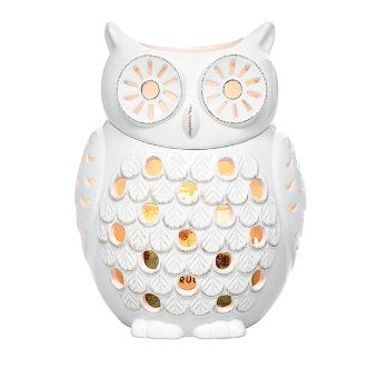 Woodland Snow Owl Jar Holder. This glazed ceramic jar holder features cutouts to let the beautiful candlelight shine through. Just remove owl's head to access the inside and display with your favorite jar or pillar