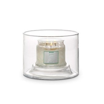 Candle holder is reversible and features space to personalize each display with your own added touches. Includes leveling beads. For use with jar candles, sold separately.