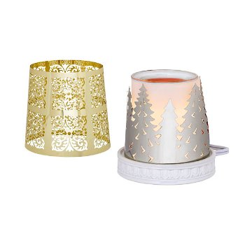 Warmer includes two metal sleeves: an ornate goldtone pattern and silvertone fir trees to sit on the decorative ceramic base. Enjoy the long-lasting fragrance of Scent Plus® Melts, sold separately,