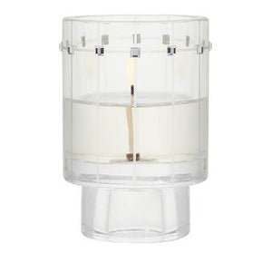 this simple glass candle holder's style hides versatility and subtle elegance with Swarovski® crystal finishings. Use it with a votive or tealight, or flip it over to use a taper candle.