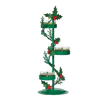 tealight candle tree designed to pair with our Clearly Creative Hurricane. Place three tealights and staggered heights along this bright and traditional holly sprig holder. 23 cm h