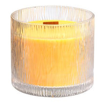 Load image into Gallery viewer,  stunning seasonal candle with fabulous crackling wooden wick, recreating the sound of a cozy fireplace. Nature's Light™ Candles feature a bark-effect textured glass jar.