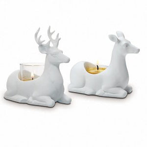 "Stag includes glass cup for votives and tealight. White porcelain doe holds tealights only. Glazed finish. (Stag: tealight, votive. Doe: tealight). Stag: 5¾""h 15 cm h. Doe: 4""h 10 cm h."
