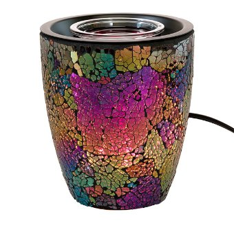 This shimmering glass mosaic Warmer reflects in dark moody greeny blues, pinky purples and golds. It includes a glass dish and matches various décor pieces in the collection