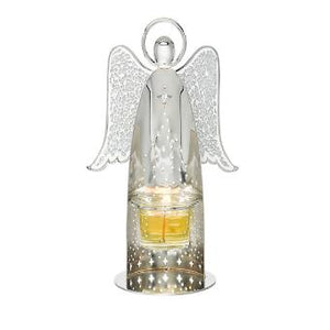 Angelic reflections add a beautiful serenity to your Holiday décor, evoking the candlelight of traditional Holiday seasons from childhood. This beautiful metal and mosaic angel votive candle holder casts stunning reflections when lit by candlelight. Metal with mosaic glass wings. Includes glass cup.