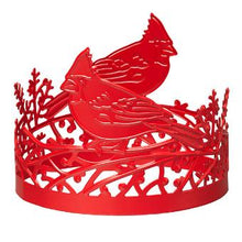"Load image into Gallery viewer, Cut-out cardinal birds sit atop sprigs in a design that perfectly wraps your favorite fragranced 3-Wick Jar Candle. Use alone or pair it with a jar stand or pedestal. Metal. Measures 9 cm h., 11 cm w. 3 ½"" h."