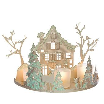 The glittery champagne-colored metal features a stunning winter scene. It comes with 3 frosted glass cups to hold votives and tealights. You can also use it with a jar and 2 tealights. 19 cm h