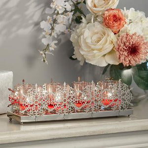 SILVERY SNOWFLAKE CANDLE HOLDER