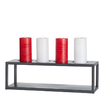 Versatility and simplicity makes this elevated candle holder a must-have piece for every home décor lover. Its simple metal style provides a platform for a variety of candle forms you love, from votives in glass cups to tapers on magnetic holders, and more. Metal. Includes 4 glass cups and 4 magnetic metal taper holders