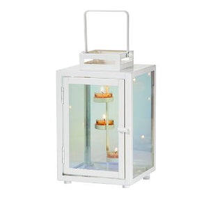 lantern in white metal and rainbow reflective glass. This stylish piece balances traditional rustic style with a modern glass effect that shows rainbow reflections when lit up by candlelight. Metal with iridescent glass panels. Includes metal, 3-tealight tree