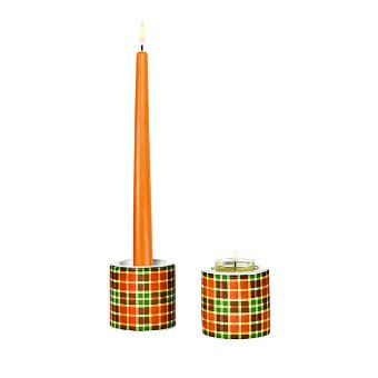 This season tartan is one of the must-have prints in home style, so we couldn't resist. This tealight candle holder set features our unique Autumn tartan colorway, wrapping a simple ceramic holder. Also holds taper candles.