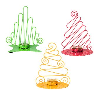 Go bold and bright with our color pop Holiday décor pieces, like these unique modern renderings of Holiday trees in green, red and yellow. These fun candle holders are designed to hold your favorite tealights. Coated metal