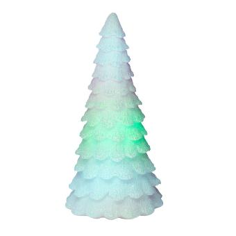 Snow-covered fir will light up your holiday displays in a rainbow of colors. Molded of white wax and dusted with glitter.
