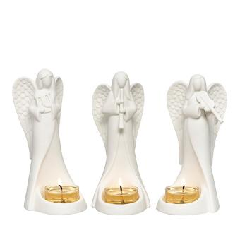 Choir of Angels Tealight Holder Trio. This set of 3 porcelain angels is ideal for creating the most stylish silent night. Each angel is playing a different musical instrument. Display with tealights.