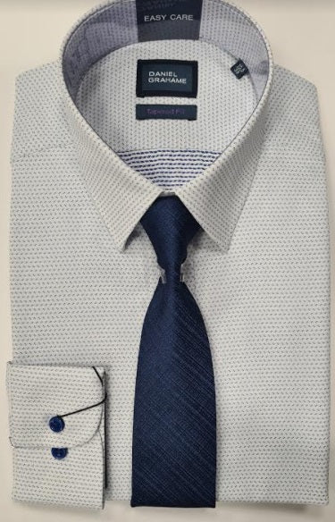 Daniel Grahame Tapered Long Sleeve Formal Shirt - Blue / White