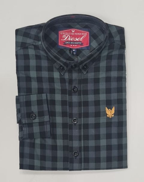 Boys Diesel Boden Shirt - 769 Green Check