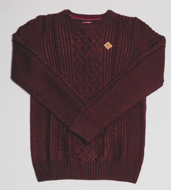 Boys Diesel Galen Cable Knit Jumper - 561 Ruby Wine Melange