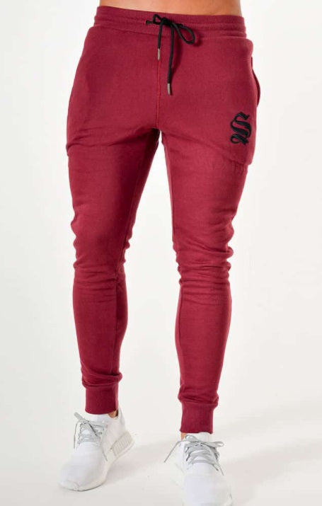 Sinners Attire Joggers Tracksuit Bottoms - Burgundy