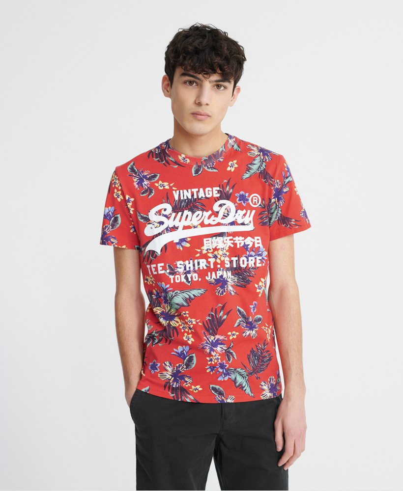 Superdry Super 5'S T-Shirt - Vintage Tropical Red