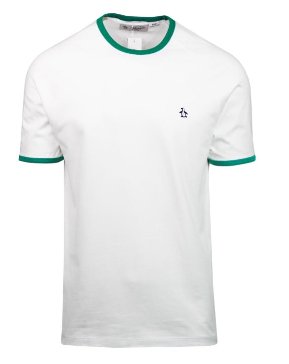 Penguin Original Retro Ringer T-Shirt - Bright White/Green