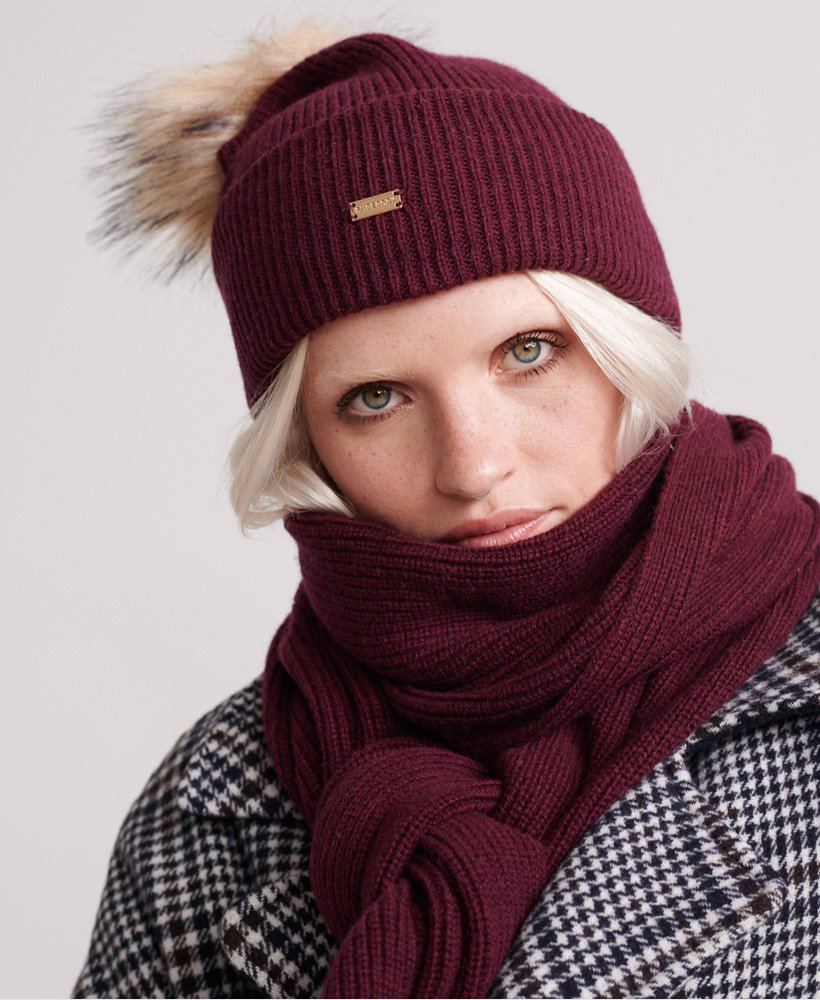 Ladies Superdry Heritage Ribbed Beanie - Burgundy Marl