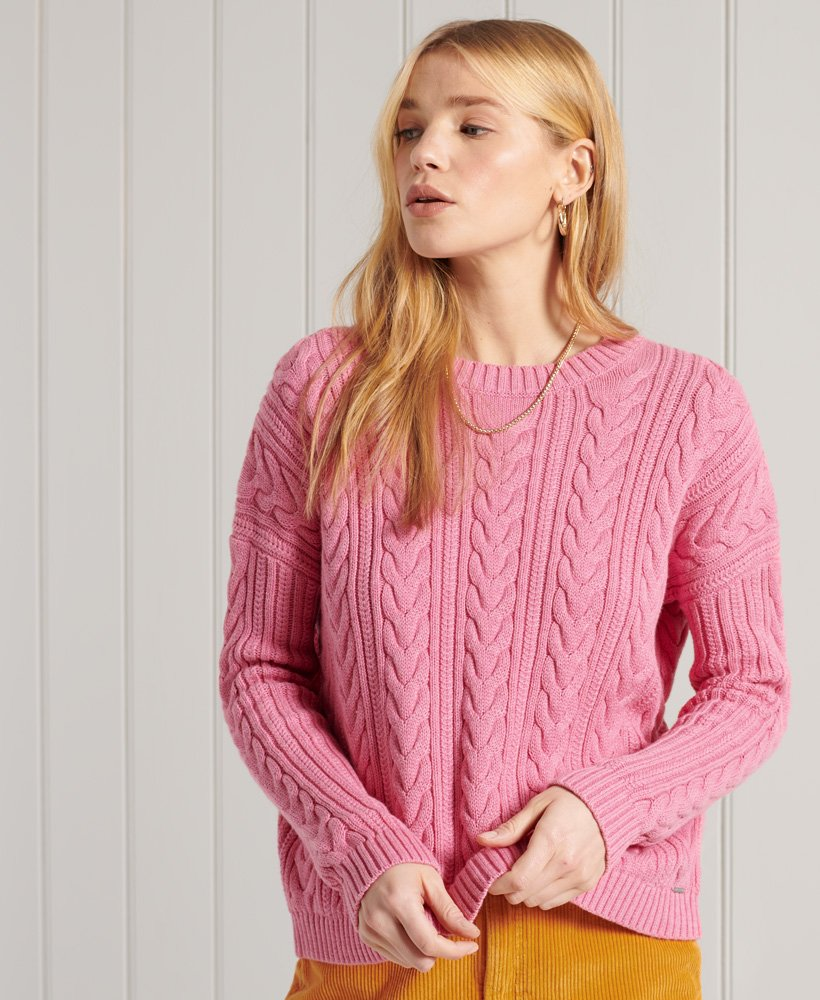 Ladies Superdry Dropped Shoulder Cable Crew Neck Jumper - Dusty Rose Marl