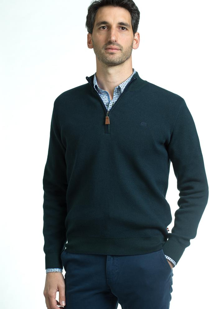 Andre Clifden Half Zip Sweater - Forest