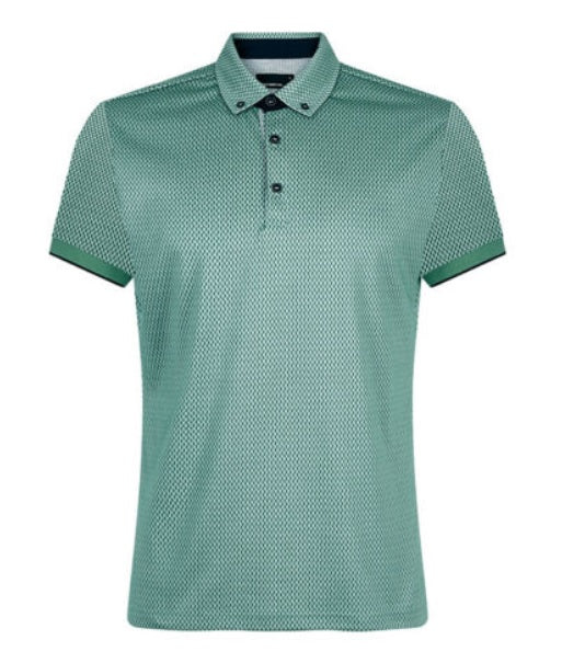 Remus Uomo Cotton Blend Jersey Polo Shirt - Light Green