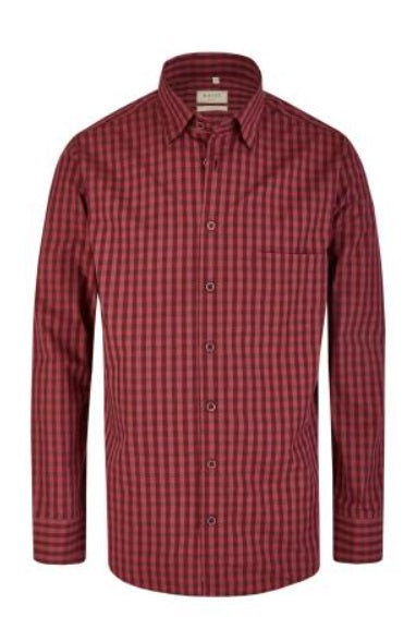 Haupt Modern Fit Check Shirt - Burgundy