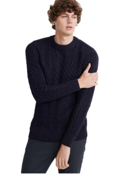 Superdry Jacob Cable Crew Jumper - Navy/ Black Twist