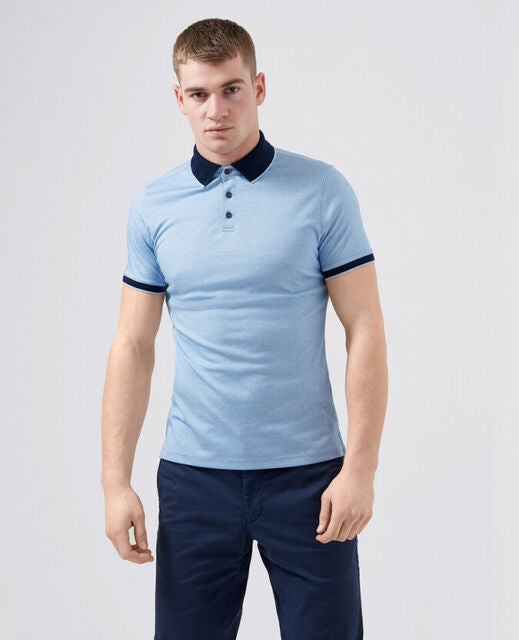 Remus Uomo Cotton Blend Jersey Tapered Fit Polo Shirt - Sky Blue