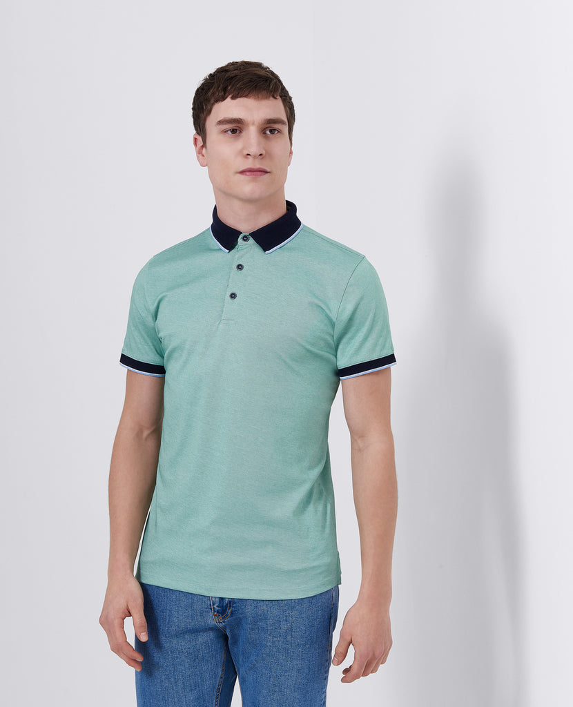 Remus Uomo Short Sleeve 3 Button Polo Shirt- Light Green