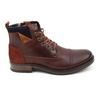 Morgan & Co Zip Laced Leather Boot 1060 - Dark Cognac