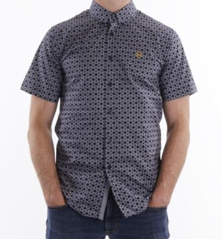 XV KINGS Maroondah Short Sleeve Shirt - Navy Geo
