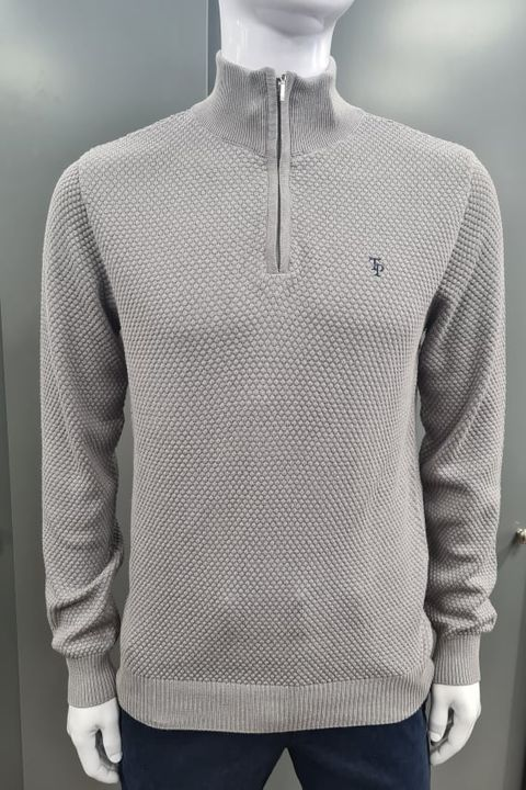 Tom Penn Molloy Half Zip Sweater - Grey
