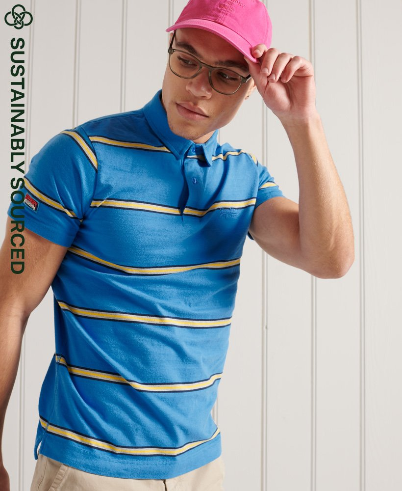Superdry Organic Cotton Academy Stripe Polo Shirt - Neptune Blue Stripe