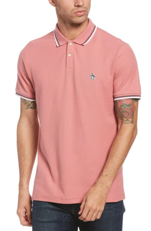 Penguin Original Sticker Pete Pique Polo Shirt - Dusty Rose