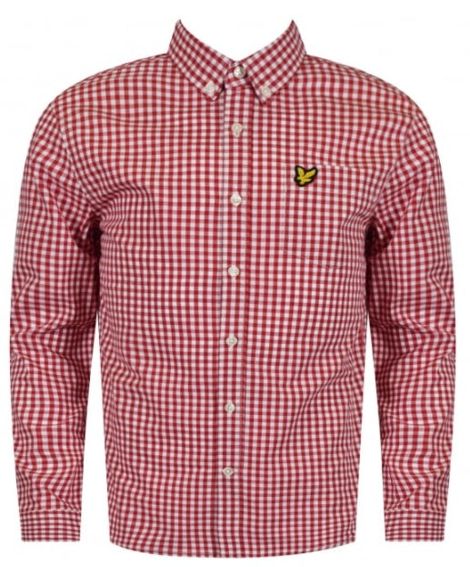 Boys Lyle & Scott Long Sleeved Checked Shirt - Red