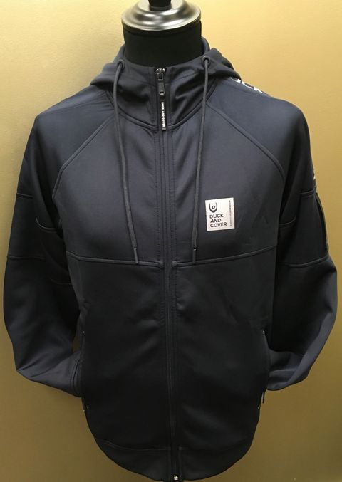 Duck And Cover Mens Renton Full Zip Hoodie - Night Sky