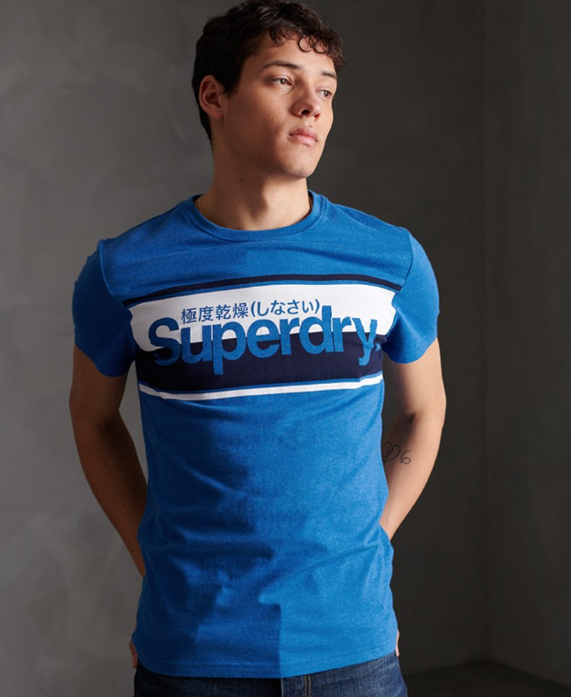 Superdry Core Logo Stripe Tee - Royal Marl