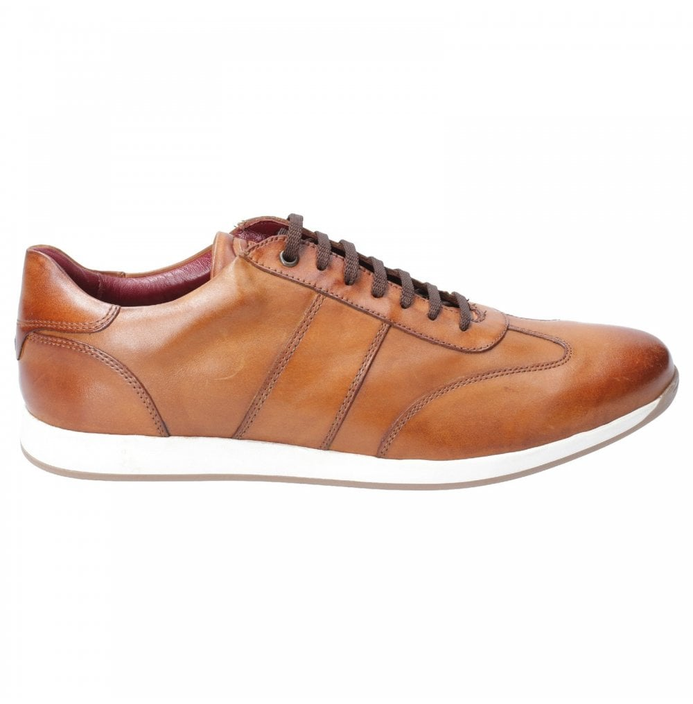 Base London Sonic Mens Leather Casual Trainers Washed - Tan