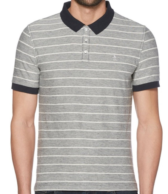 Penguin Original Stripe Polo Shirt - Dark Sapphire