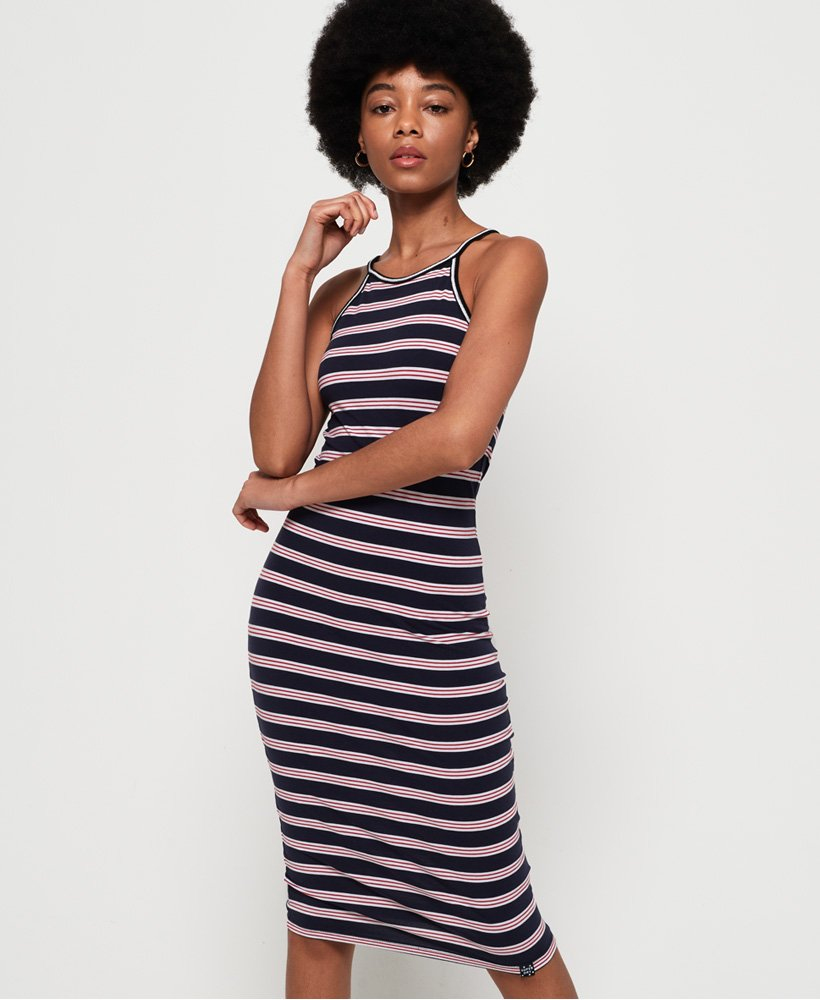 Ladies Superdry Tiana Midi Dress - Red/eclipse/white Stripe