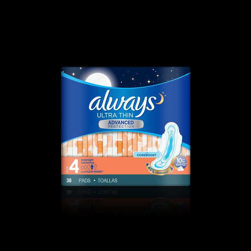Ultra Thin Advance Protection Overnight Always 38 pads