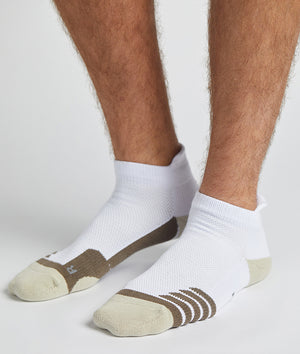 Quarter No Show Tab White/Cement Socks