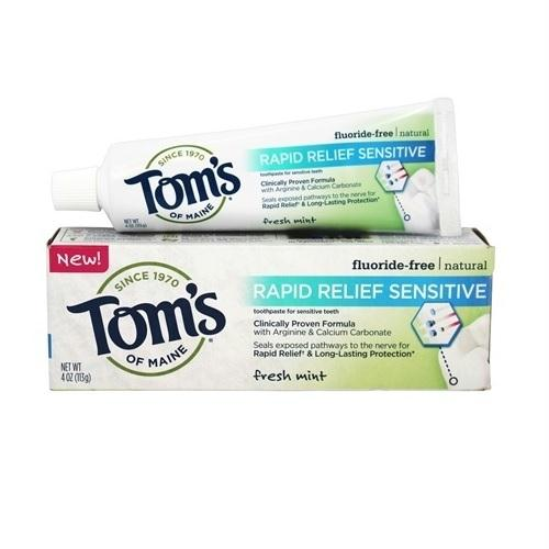 Tom's Of Maine Rapid Relief Sensitive Fluoride-free Natural Toothpaste Fresh Mint (6x4 Oz)